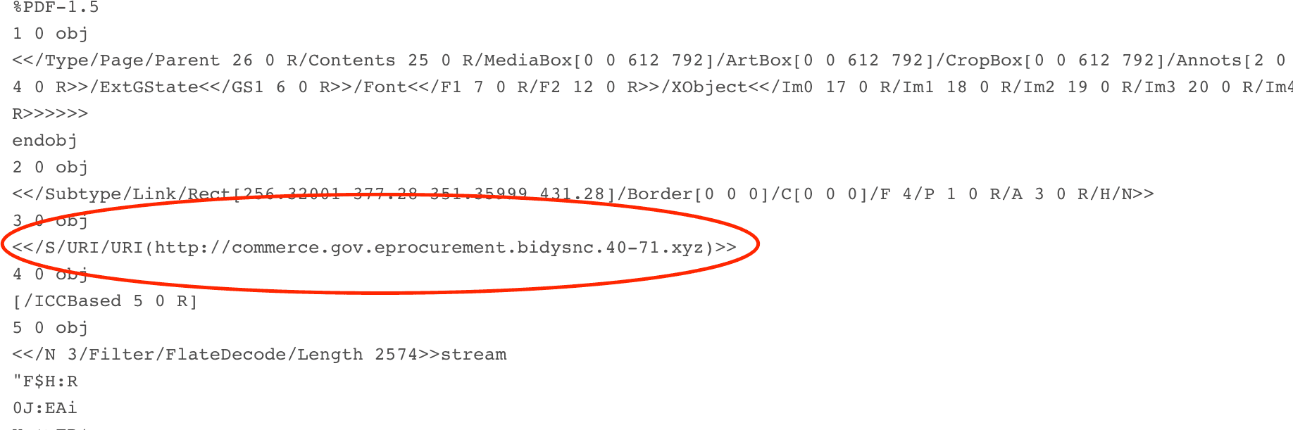 Embedded link in the pdf document lure spoofing the U.S. Department of Commerce