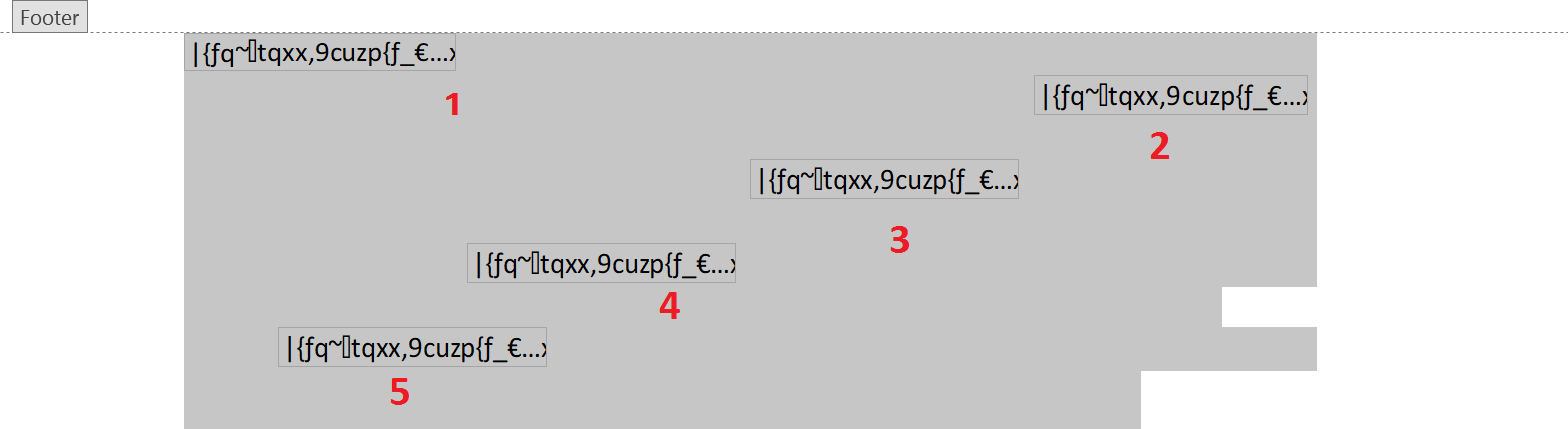 The Five Embedded OLE Objects Within the Footer Section of the Doc