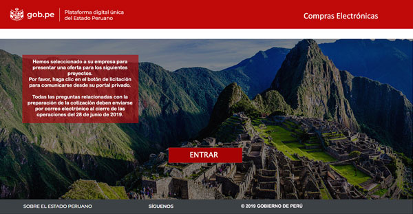 Phishing page impersonating Government of Peru's Compras Electrónicas