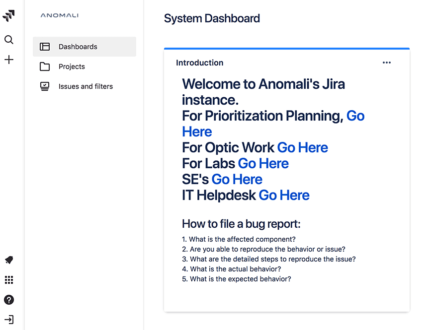 Jira Server with viewable dashboard