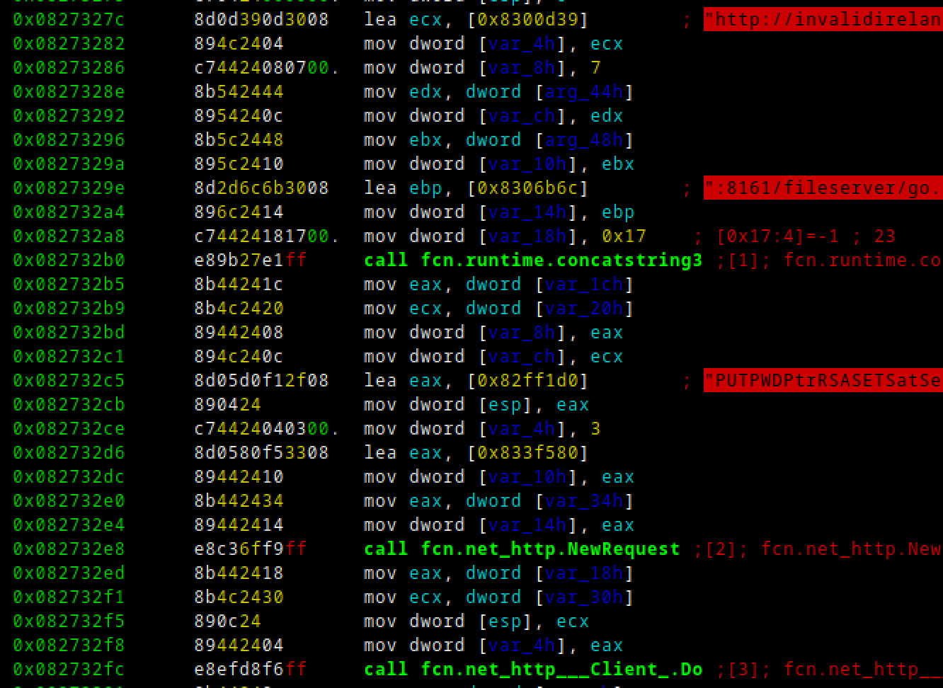 "LSD malware constructing a ""PUT"" request to upload the crontab file to ""/fileserver/go.txt"" on the ActiveMQ host."