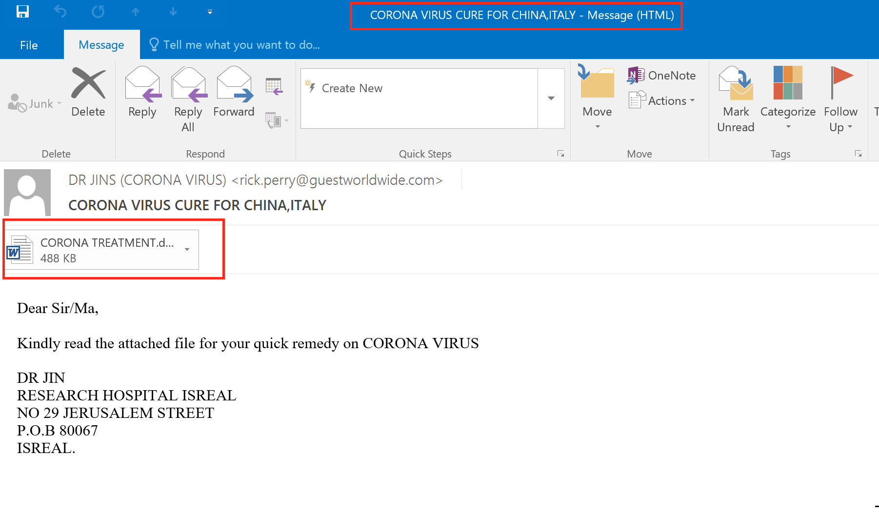 Malspam Email
