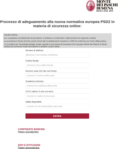 Adaption to PSD2 web form targeting Monte dei Paschi di Siena (MPS), an Italian bank