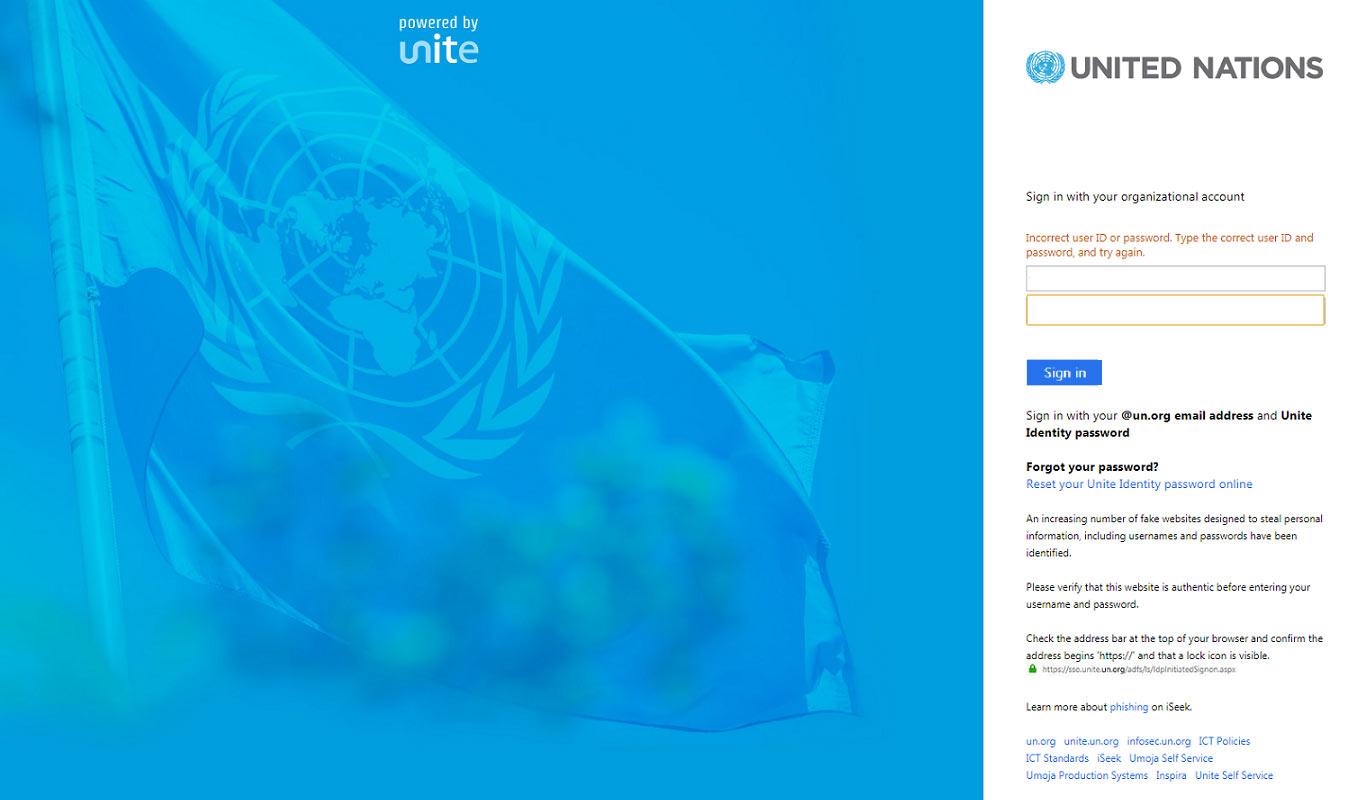 Phishing page mimicking the United Nations' Unite Identity login site