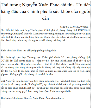 Vietnamese Government Meeting Article from March 3, 2020