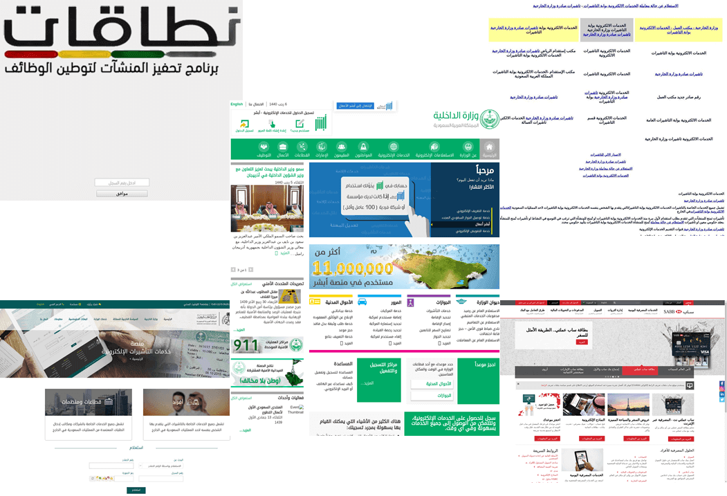 Faux websites spoofing the Ministry of Labor, Ministry of Foreign Affairs, Ministry of Interior, Saudi National Portal, & Saudi British Bank