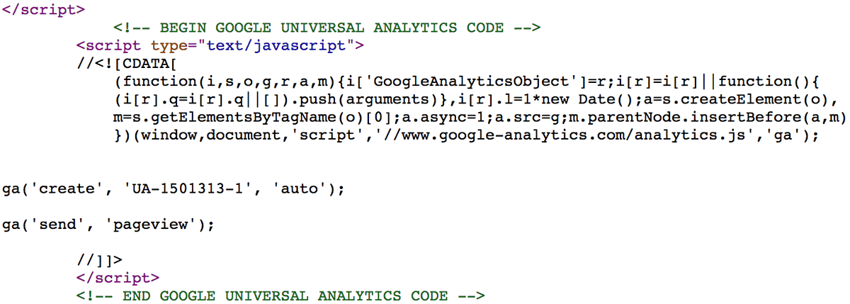Code snippet of legitimate Google Analytics on a compromised machine.