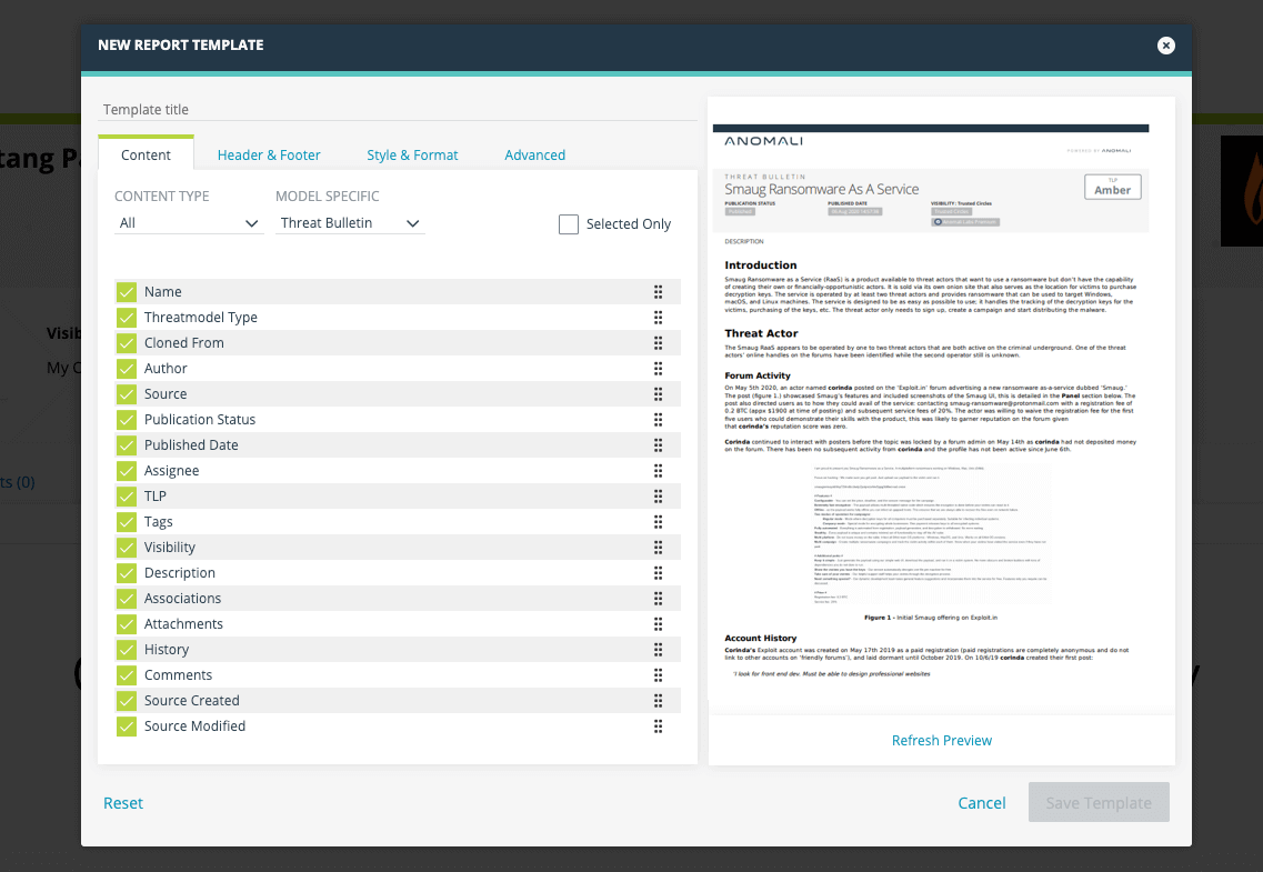 Finished Intelligence Reporting Templates