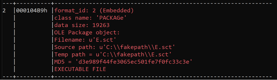 OLE Package File Information for. sct File